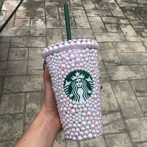 Pink pearl bling Starbucks Tumbler